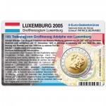 Münzkarte (ohne Münze) für 2-Euro Gedenkmünze Luxemburg 2005