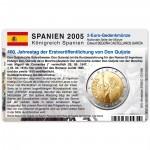 Münzkarte (ohne Münze) für 2-Euro Gedenkmünze Spanien 2005