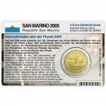 Münzkarte (ohne Münze) für 2-Euro Gedenkmünze San Marino 2005