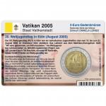Münzkarte (ohne Münze) für 2-Euro Gedenkmünze Vatikan 2005