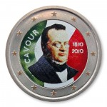 "Farbige 2 Euro Sondermünze Italien 2010 ""Camillo Benso von Cavour"""