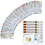 28 Münzkarten ohne Münze (16 Länder) von 2007 für 2-Euro Gedenkmünzen