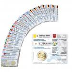33 Münzkarten ohne Münze (18 Länder) von 2009 für 2-Euro Gedenkmünzen