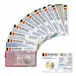 Set - alle Münzkarten (ohne Münze) Belgien für 2-Euro Gedenkmünzen