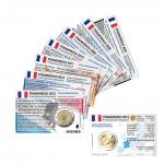 Set - alle Münzkarten (ohne Münze) Frankreich für 2-Euro Gedenkmünzen