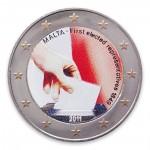 Farbige 2 Euro Sondermünze Malta 2011 - Wahlen 1849 pfr.