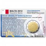 Münzkarte (ohne Münze) für 2-Euro Gemeinschaftsmünze Malta 2012