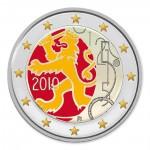 Farbige 2 Euro Gedenkmünze Finnland 2010 - 150 Jahre Finnische Wähung pfr.