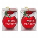 2er Set Weihnachtskugeln rot mit Santam�tze