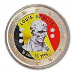 Farbige 2 Euro Gedenkm�nze Belgien 2009 - Louis Braille pfr.