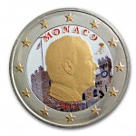 Farbige 2 Euro Sondermünze Monaco 2012 - Fürst Albert II pfr.