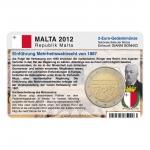 Münzkarte (ohne Münze) für 2-Euro Gedenkmünze Malta 2012