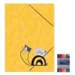 """Zeichenmappe """"Schneckenpost"""" für A4 inkl. 10er Pack Doppelfasermaler"""