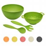 4-teiliges Set Bambus Natur-Design Salatschüssel Ø 30 cm, Sieb und Salatbesteck
