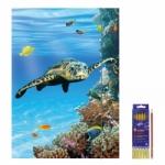"""Zeichenmappe """"Unten im Meer"""" für DIN A3 inkl. 6er Pack Buntstifte + Bleistift"""