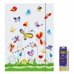 """Zeichenmappe """"Schmetterlinge"""" für DIN A3 inkl. 6er Pack Buntstifte + Bleistift"""