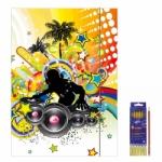 """Zeichenmappe """"Music"""" für DIN A3 inkl. 6er Pack Buntstifte + Bleistift"""