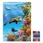 """Zeichenmappe """"Unten im Meer"""" für DIN A4 inkl. 10er Pack Doppelfasermaler"""