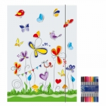 "Zeichenmappe ""Schmetterling"" für DIN A4 inkl. 10er Pack Doppelfasermaler"