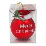 Weihnachtskugel rot mit Santamütze