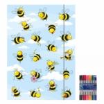 """Zeichenmappe """"Crazy Bees"""" für A4 inkl. 10er Pack Doppelfasermaler"""