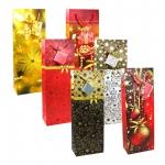 6er Pack Geschenktüten für Flaschen mit Weihnachtsmotiven