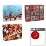 6er Set Weihnachts-Shopper - Serie III inkl. 25er Pack Geschenkanhänger