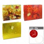 6er Set Weihnachts-Shopper - Serie II inkl. 25er Pack Geschenkanhänger