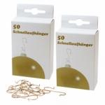 2er Set Schnellaufhänger gold für Weihnachtskugeln (2 x 50 Stück)