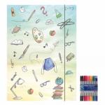 "Zeichenmappe ""Schooldoodle"" für A4 inkl. 10er Pack Doppelfasermaler"