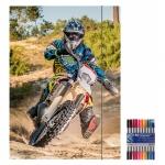 "Zeichenmappe ""Motocross"" für A4 inkl. 10er Pack Doppelfasermaler"