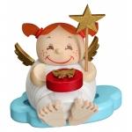 """Kugelräucherfigur """"Engel mit Weihnachtsgeschenk"""" ca. 12 cm"""