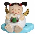 """Kugelräucherfigur """"Engel mit Erzgebirgspyramide"""" ca. 10 cm"""