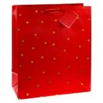 TSI 12er Pack Geschenktüte groß ca. 26 x 13,5 x 32 cm ROT/STERNE