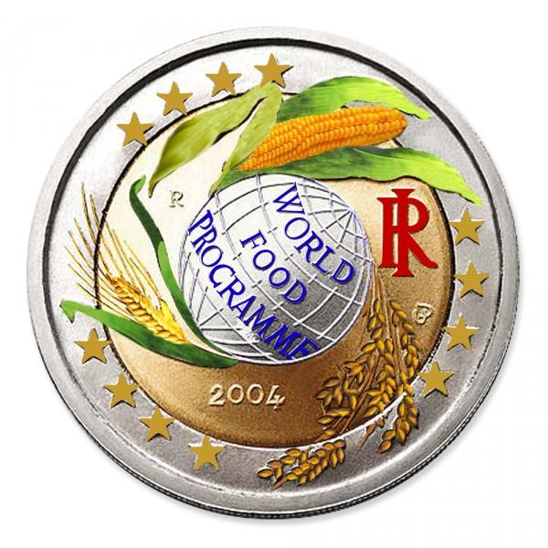 Farbige 2 Euro Gedenkmünze Italien 2004 World Food Programme Pfr